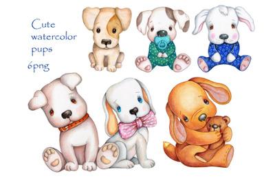 Cute watercolor Pups. Set of 6 illustrations.