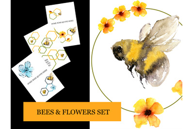 Bees and Flowers set: cards, elements and wreaths in yellow and blue