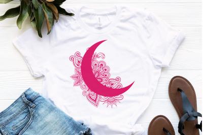 Moon Mandala Svg, Moon Svg, Crescent Moon Svg, Mandala Svg