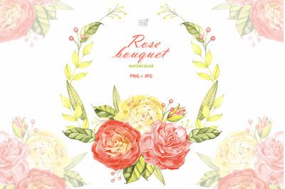 Watercolor roses bouquet cliparts