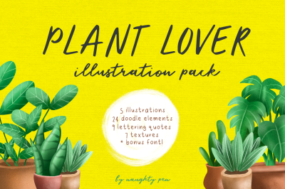 Plant Lover Pack - Illustrations, Doodles & BONUS Font!