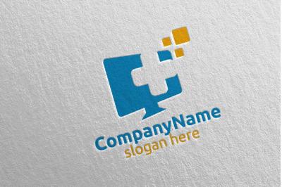 Tech Cross Medical Hospital Logo Design 51