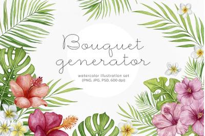 Bouquet generator or arrangement. Tropical flora watercolor set