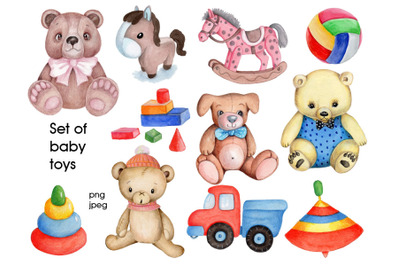 Set of baby toys. Watercolor hand drawn.