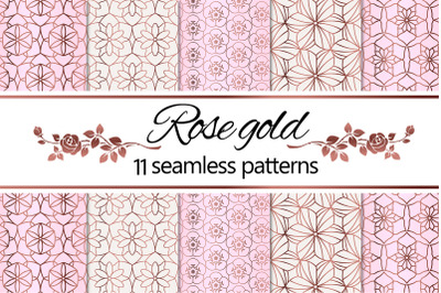 Rose Gold Geometric Floral Patterns