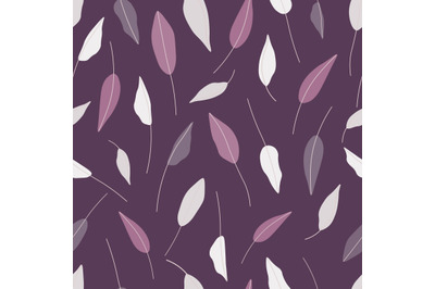 Hand drawn leaves seamless repeat vector pattern