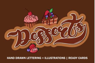 Desserts Set. Cafe menu design