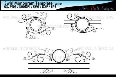 Swirl monogram templates