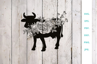 Floral Cow svg, Animal Farm svg cut file
