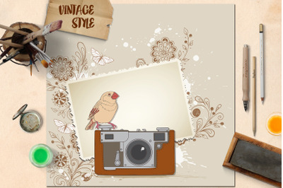 Vintage Camera and Bird