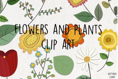 Flowers Clipart SVG. Doodle flowers download.