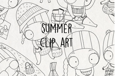 Summer ColoringSVG Clipart. Black and White clip art |Set of 9