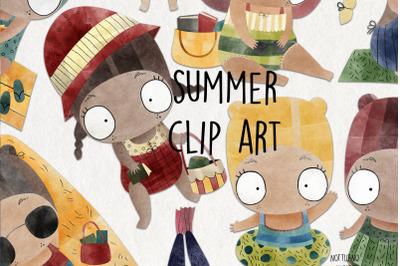 Watercolor Summer clipart. Girl clip art. Set of 9 png jpeg clipart.