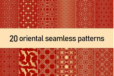 Golden Oriental Seamless Patterns
