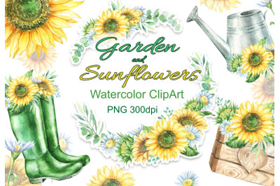 Watercolor sunflowers daisies garden clipart watering can rubber boots