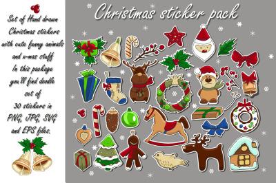 Hand drawn Christmas sticker pack