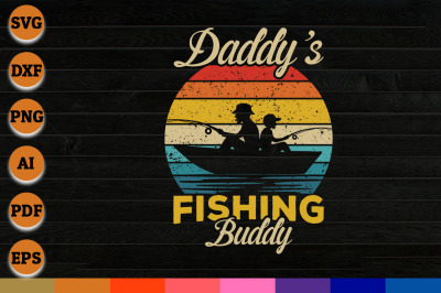 Daddys fishing buddy svg, png, dxf cricut file for Instant Download