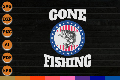 Gone Fishing svg, png, dxf cricut file for Digital Download