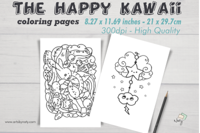 The happy kawaii coloring pages