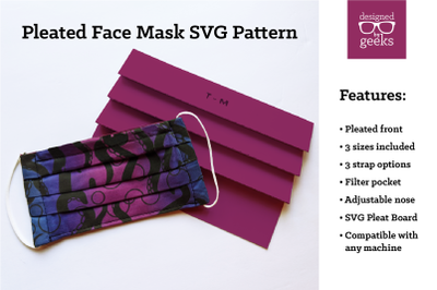 Pleated Face Mask Sewing Pattern with Pleat Board | SVG | DXF
