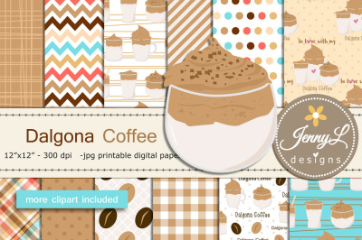 Dalgona Coffee Digital Papers and Clipart