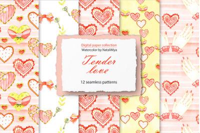 Watercolor tender love digital paper