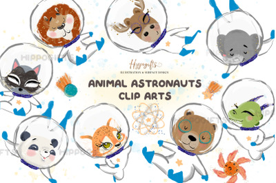 Animal astronauts cliparts