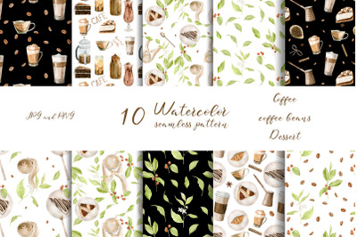 Watercolor Coffee seamless pattern