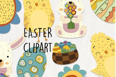 Easter SVG clipart. 13 easter digital clipart. Easter bunny, eggs, bas