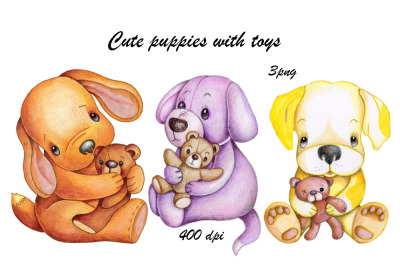 Cute Puppies with Toys