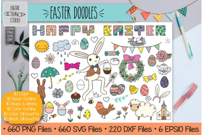Colored Easter Doodles Clip Art | Hand Drawn Decorated Eggs + Bunny
