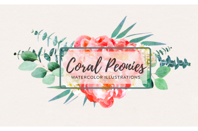 Watercolor Coral Peonies