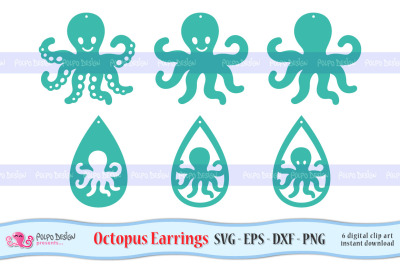 Octopus Earrings SVG, Eps, Dxf and Png