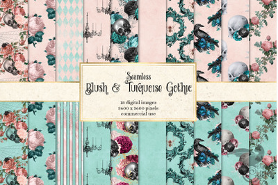 Blush and Turquoise Gothic Digital Paper