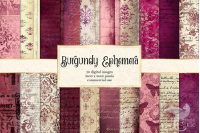 Burgundy Ephemera Digital Paper