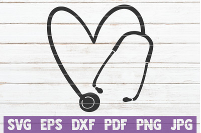 Heart Stethoscope SVG Cut File
