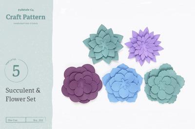 Paper Succulent Templates, 3D Flowers - SVG, DXF, EPS, JPEG, PDF