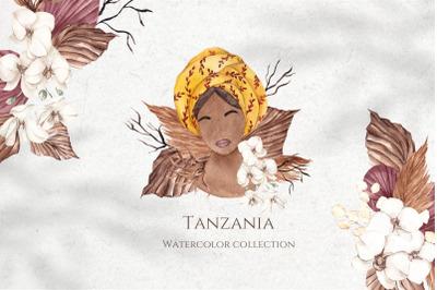 Tanzania. Watercolor collection