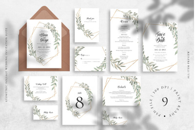 Geometric Foliage Wedding Invitation Suite