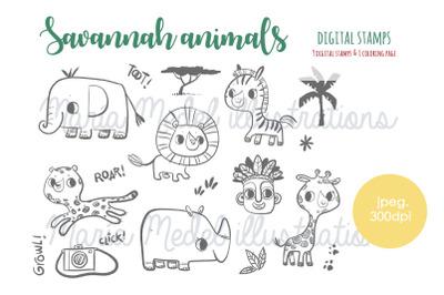 Savannah animals- big digi stamp set for kids crafts, scrapbooking, ba