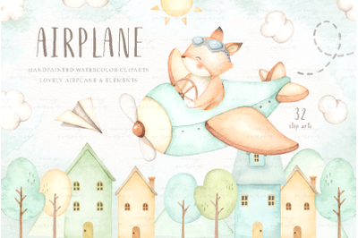 Airplane Watercolor Clip Arts