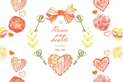 Watercolor roses and hearts clipart