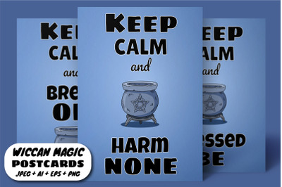 Keep Calm and Harm None - Wiccan Postcards Set