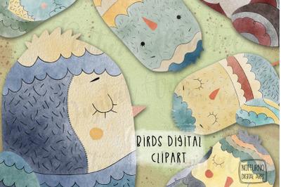 Watercolor Bird Clipart. Set of 6 digital clipart png. Digital files f