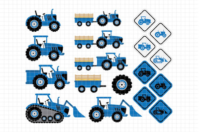 Blue Tractors-Digital Clipart (LES.CL58B)