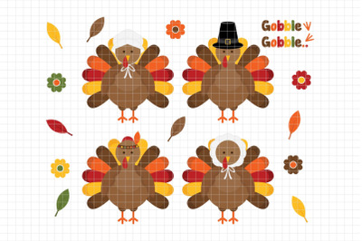 Thanksgiving Turkeys-Digital Clipart (LES.CL60)