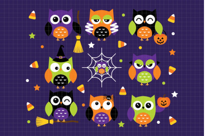 Halloween Owls-Digital Clipart (LES.CL61)