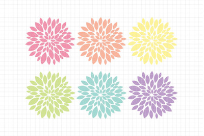 Beautiful Dahlias-Digital Clipart (LES.CL67A)