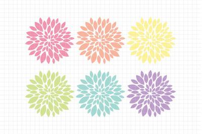 Beautiful Dahlias-Digital Clipart (LES.CL67A)