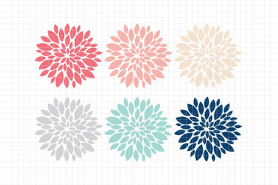 Beautiful Dahlias-Digital Clipart (LES.CL67B)